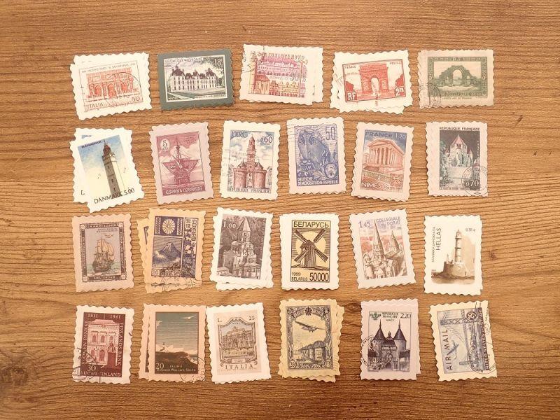 画像2: 【ネコポスOK】 フレークシール レトロ切手 世界旅行