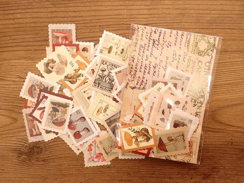 画像1: 【ネコポスOK】 フレークシール レトロ切手 きのこ