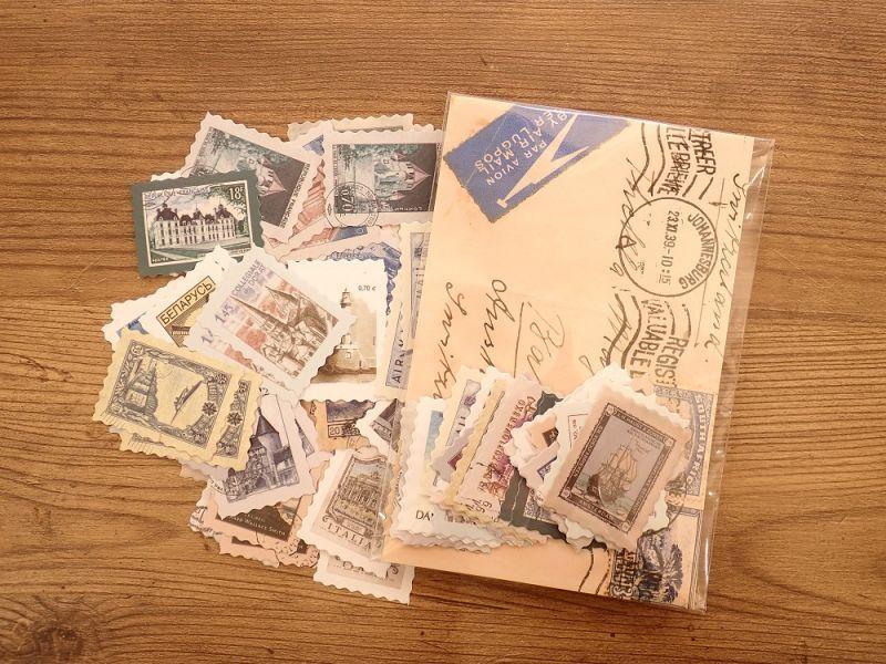 画像1: 【ネコポスOK】 フレークシール レトロ切手 世界旅行