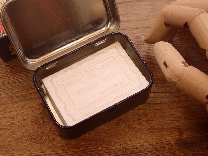 画像2: 【ネコポスNG】 シャチハタ 万年スタンプ台 缶入りメモ 藍