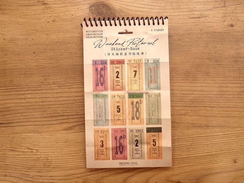 画像1: 【ネコポスOK】 ヴィンテージ風 ステッカーブック チケット