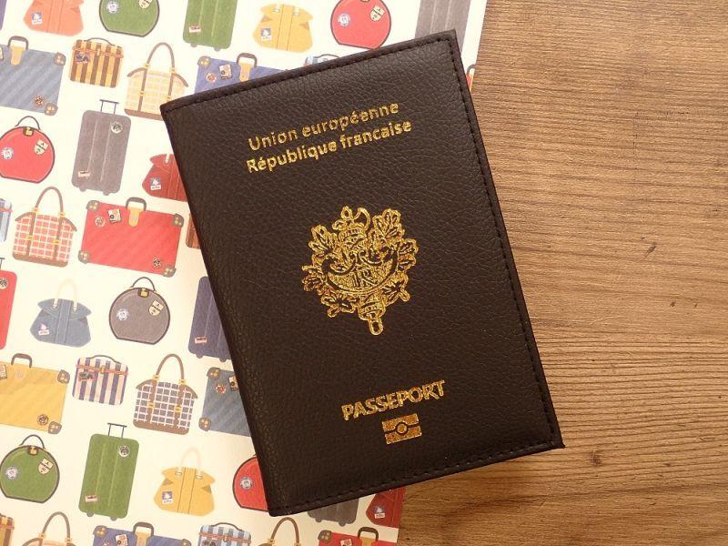 画像1: 【ネコポスOK】 パスポートカバー フランス ブラック