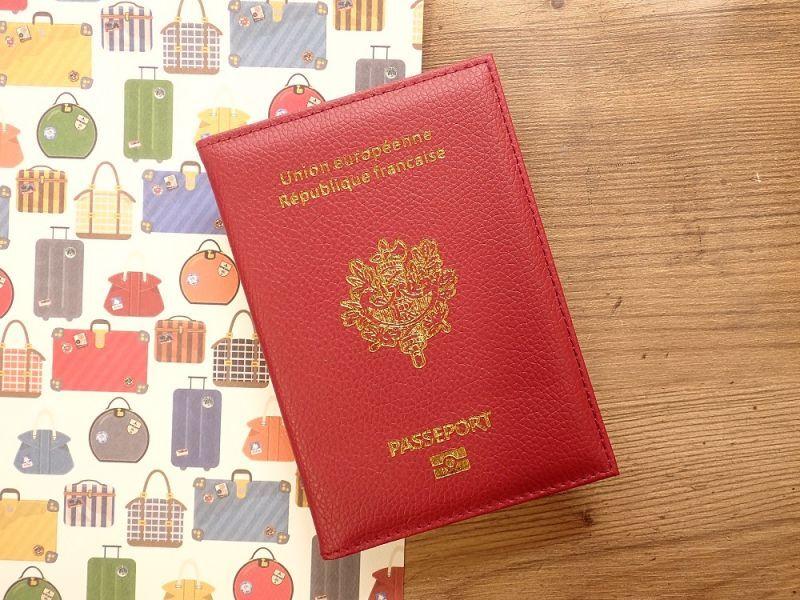 画像1: 【ネコポスOK】 パスポートカバー フランス レッド