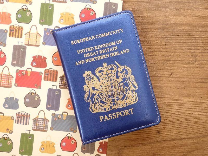 画像1: 【ネコポスOK】 パスポートカバー IRELAND ブルー