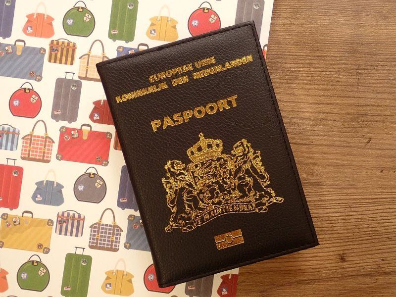 画像1: 【ネコポスOK】 パスポートカバー オランダ ブラック