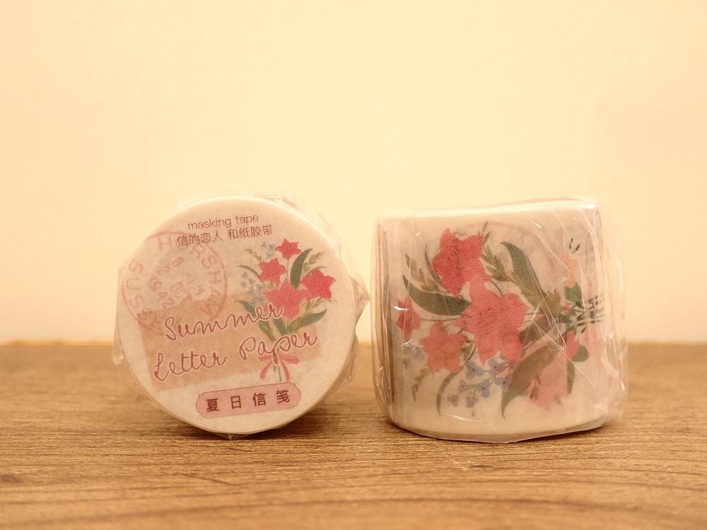 画像1: 【ネコポスNG】マスキングテープ 花束シリーズ ピンク(1個)