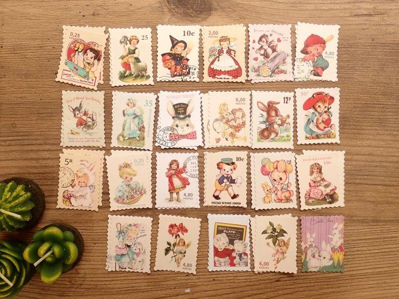画像2: 【ネコポスOK】 フレークシール レトロ切手 キュート